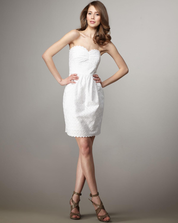 Shoshanna Eyelet Mimi Dress in White  Lyst