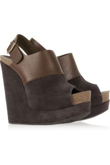 Pedro Garcia Chabela Suede and Leather Wedge Sandals - Lyst