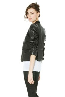 Alice + Olivia Leather Wool Sateen Structured Shoulder Blazer In Black - Lyst