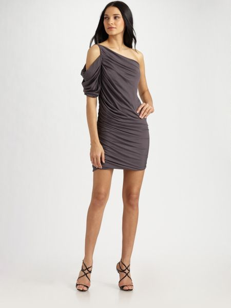 Halston Heritage Oneshoulder Shirred Dress in Gray (steel) - Lyst