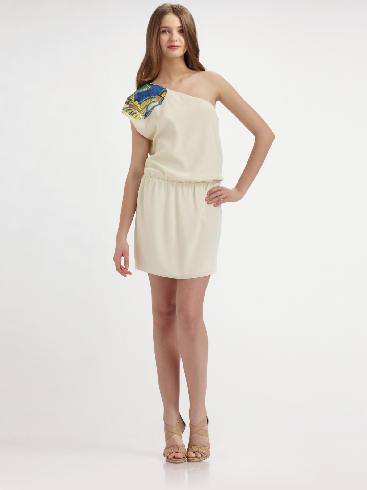 f995a37e654 Lyst - Tibi Paz One Shoulder Dress in White