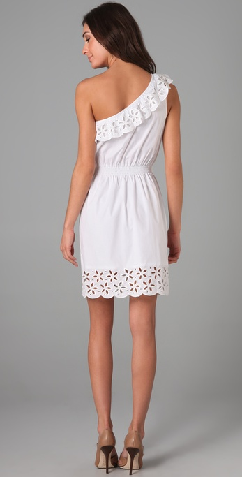 Lyst Dkny Cotton Ruffled Eyelet One Shoulder Dress In White
