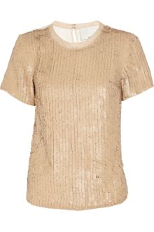 3.1 Phillip Lim Leather Paillette-embellished Silk-organza Top - Lyst
