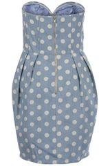 Aryn K. Aryn K Womens Polka Dot Strapless Dress  Blue Multi in Blue - Lyst
