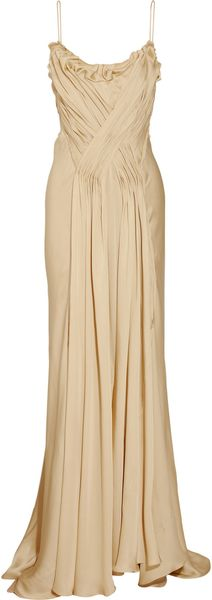 Donna Karan New York Pleated Silk Satin-crepe Gown - Lyst