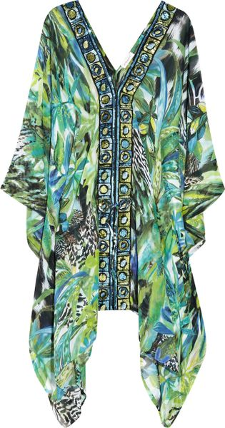 Emamó Giungla Sequin-embellished Silk-chiffon Kaftan in Multicolor (multicolored) - Lyst