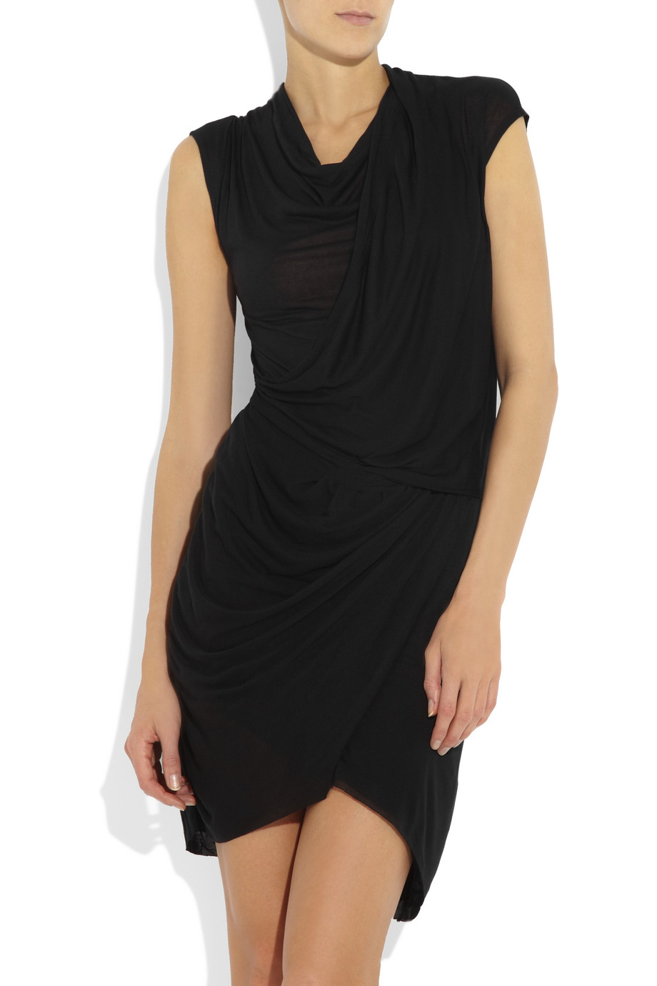 Helmut lang Twisted Draped Jersey Dress in Black | Lyst