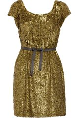 J.Crew Sequined Silk-crepe Dress - Lyst