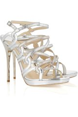 Jimmy Choo Dart Glitter Metallic Leather Sandals - Lyst