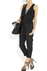 Markus Lupfer Washedsilk Jumpsuit in Black - Lyst