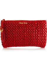 Miu Miu Matelassé Patent-leather Clutch - Lyst