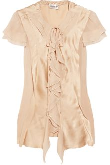 Philosophy di Alberta Ferretti Ruffled Chiffon and Silk-satin Blouse - Lyst