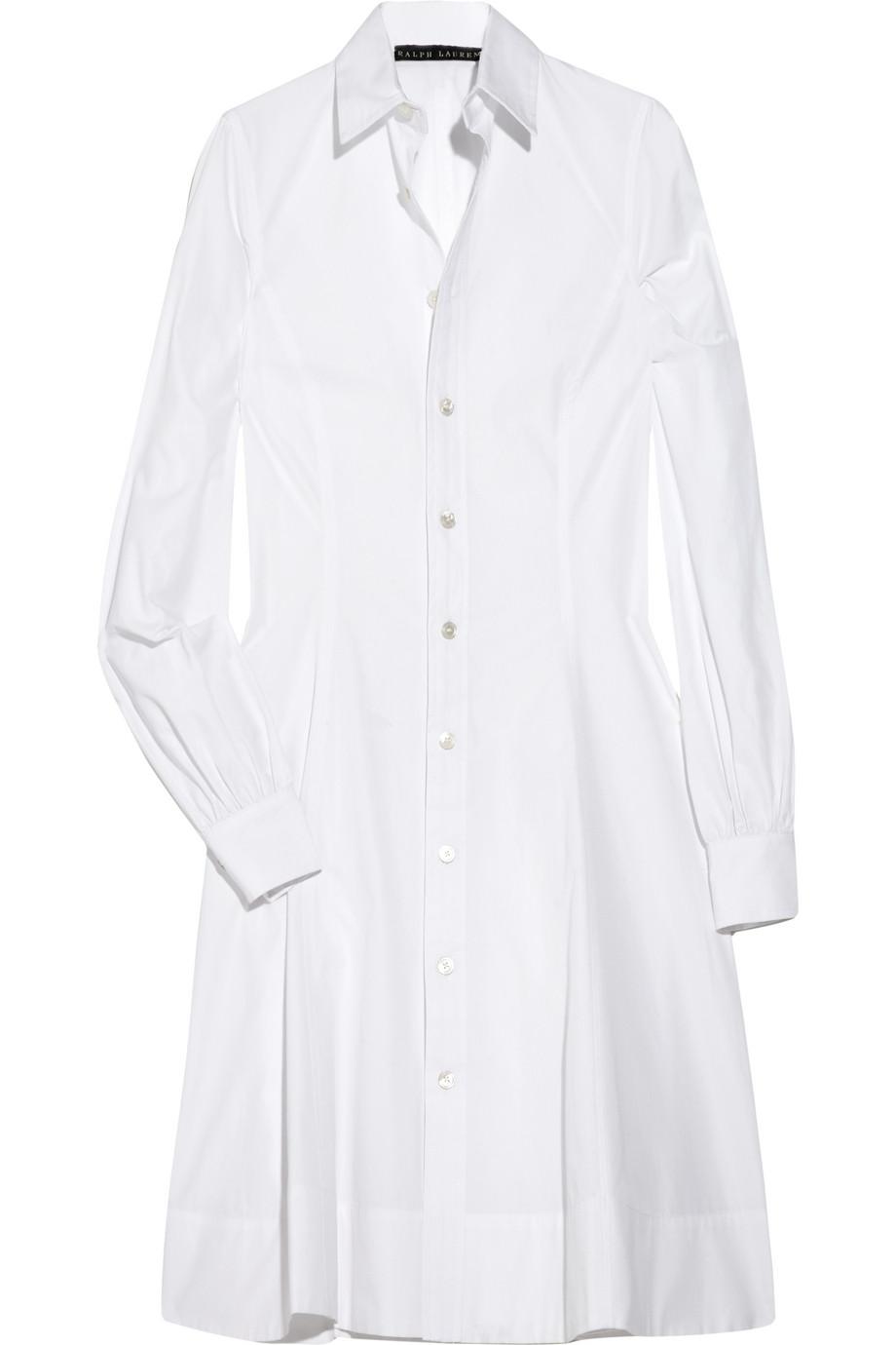 Ralph Lauren Black Label Hilda Cotton Shirt Dress In White