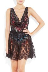 Rosamosario Kate Mini Chantilly Lace Dress in Brown (black) - Lyst