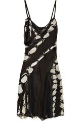 Zac Posen Printed Silkchiffon and Mesh Dress in Black - Lyst