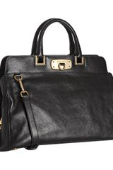 Prada Black Leather Convertible Top Frame Satchel in Black - Lyst
