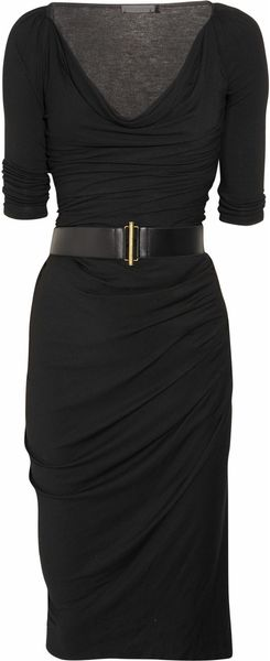 Donna Karan New York Cowl-neck Stretch-jersey Dress - Lyst
