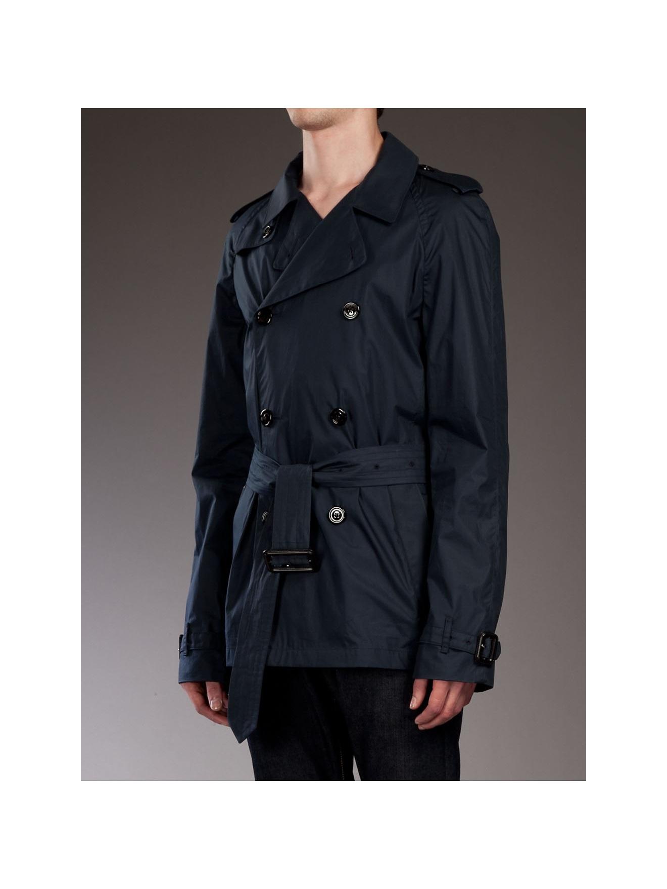 Burberry Short Trench Coat in Blue for Men | Lyst
