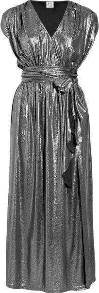 Halston Heritage Belted Lamé Maxi Dress in Silver