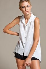 Helmut Lang Low Back Shirt in White - Lyst