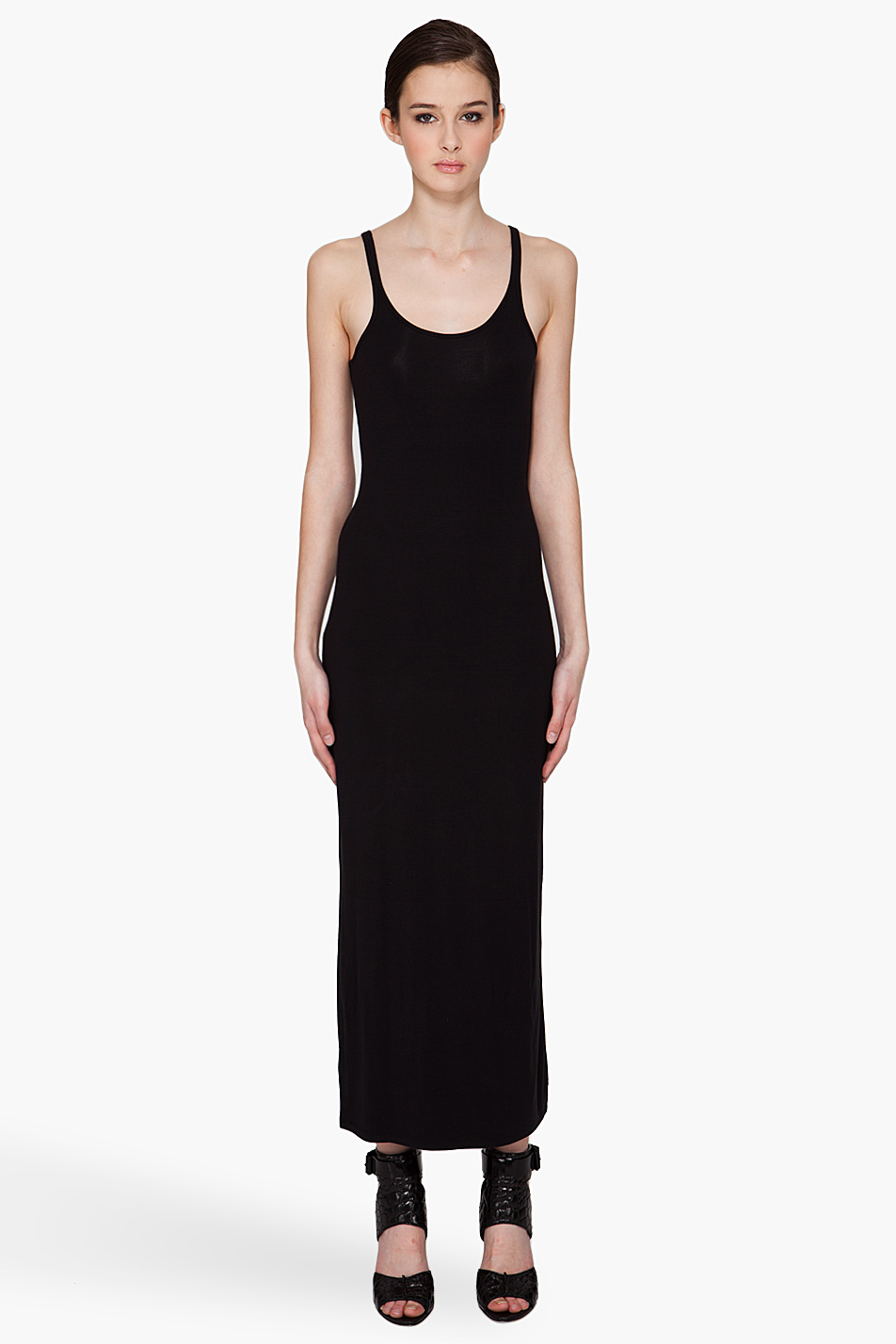 T by alexander wang Cami Tank Maxi Dress in Black | Lyst