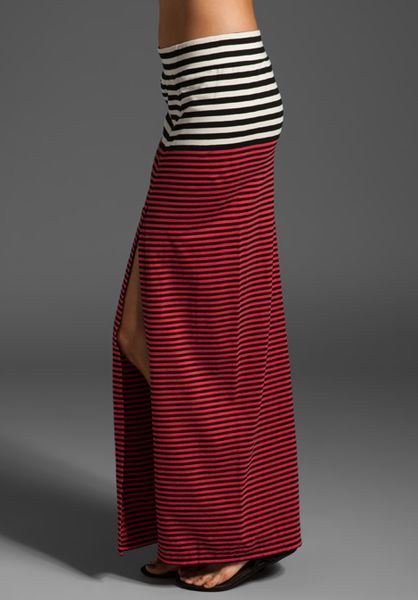 Free People Striped Slit Maxi Skirt In Red In Pink Red