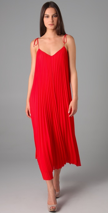 Halston Spaghetti Strap Pleated Maxi Dress In Red Lyst
