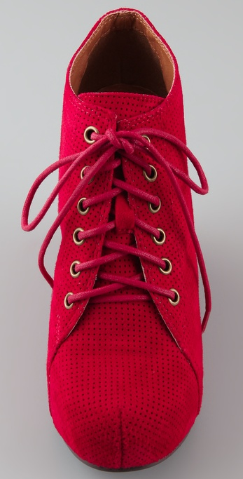 Lyst Jeffrey Campbell 99 Lace Up Wedge Booties In Red