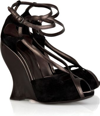 Bottega Veneta Leather and Suede Wedge Sandals - Lyst