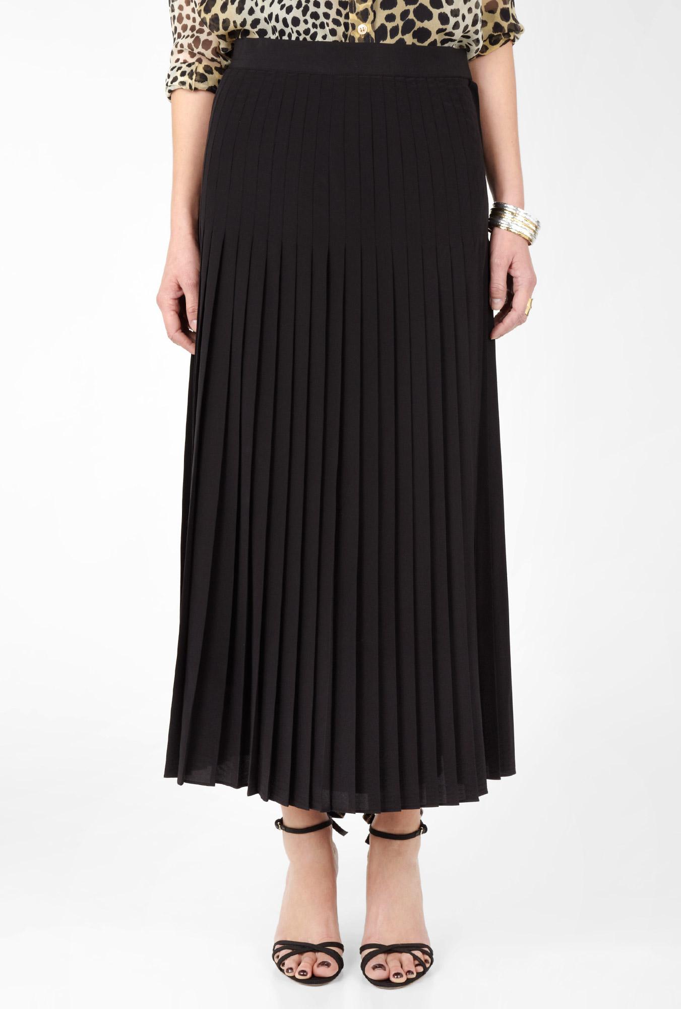 dkny black pleated maxi skirt in black lyst