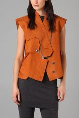 Alexander Wang Suede Trench Vest in Orange - Lyst