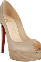 Christian Louboutin Nude Leather Banana 140 Platform Peep Toe Pumps in Beige (nude) - Lyst