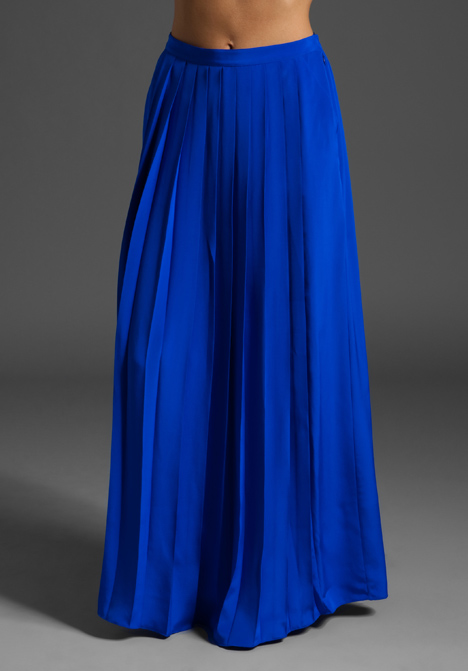 Tibi Classic Silk Long Skirt in Blue