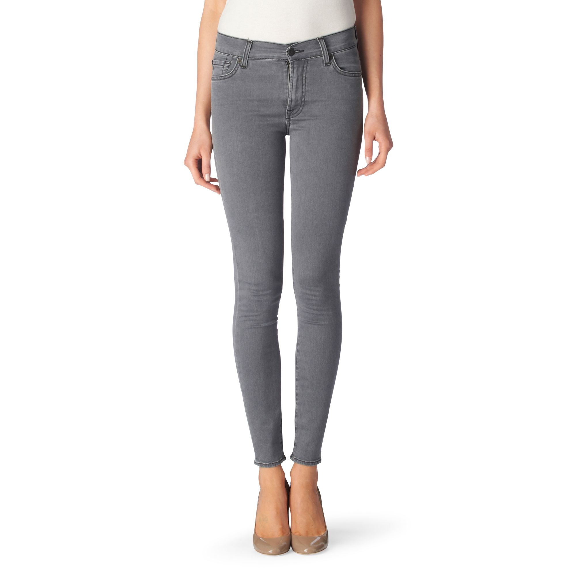 7 for all mankind gray gwenevere skinny jeans lyst. Black Bedroom Furniture Sets. Home Design Ideas