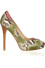 Alexander Mcqueen Peeptoe Snakeskin Pumps in Animal (green) - Lyst