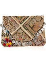 Antik Batik Vintage Embroidered-cotton Clutch - Lyst