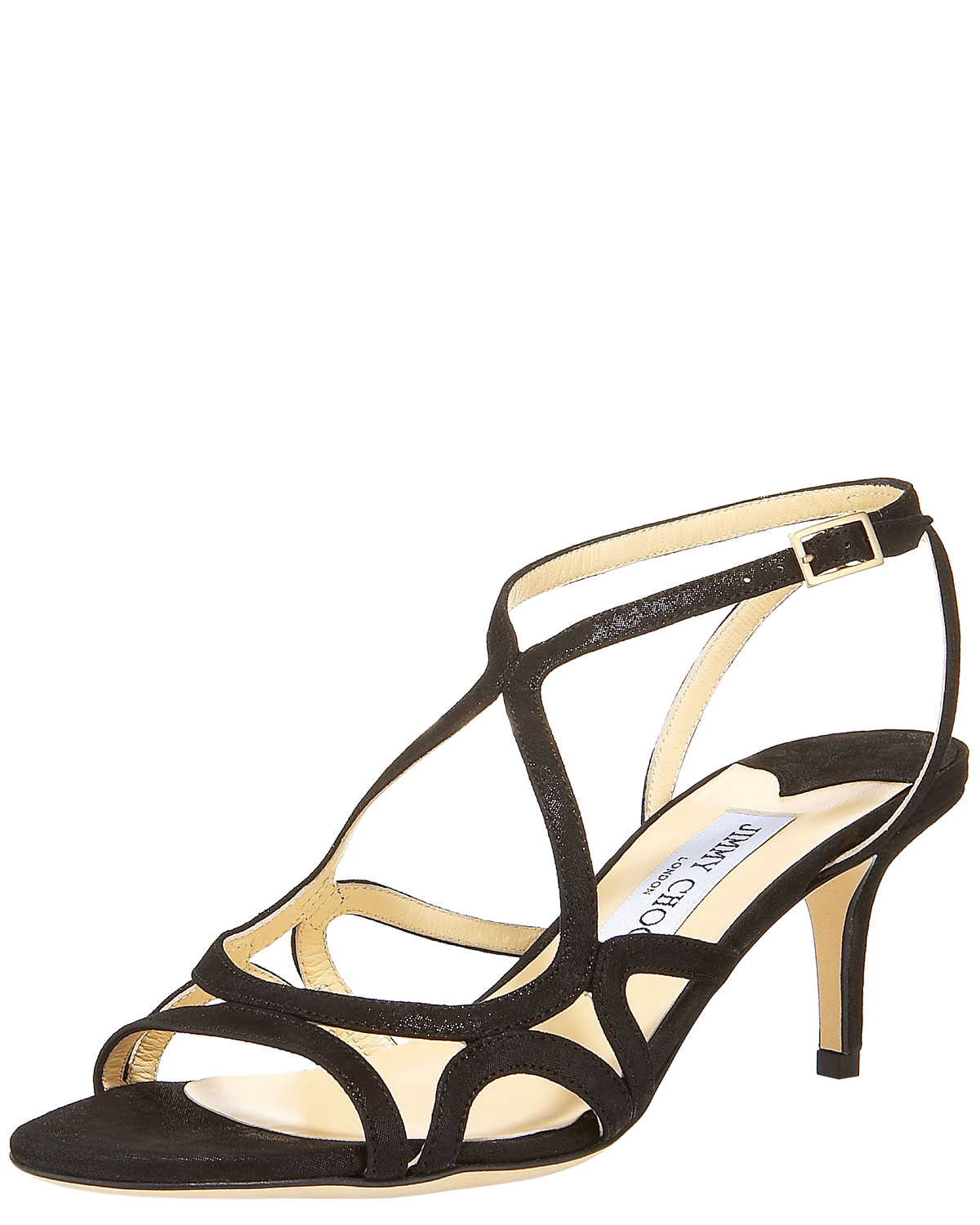 Jimmy choo Glittered Strappy Mid-Heel Sandal in Black  Lyst