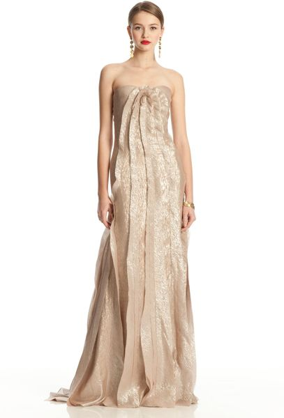 Oscar De La Renta Strapless Gown with Rosette in Gold - Lyst