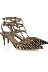 Valentino Studded Calf Hair Kitten-heel Sandals - Lyst