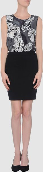 Emilio Pucci Short Crew Neckline Dress in Black - Lyst