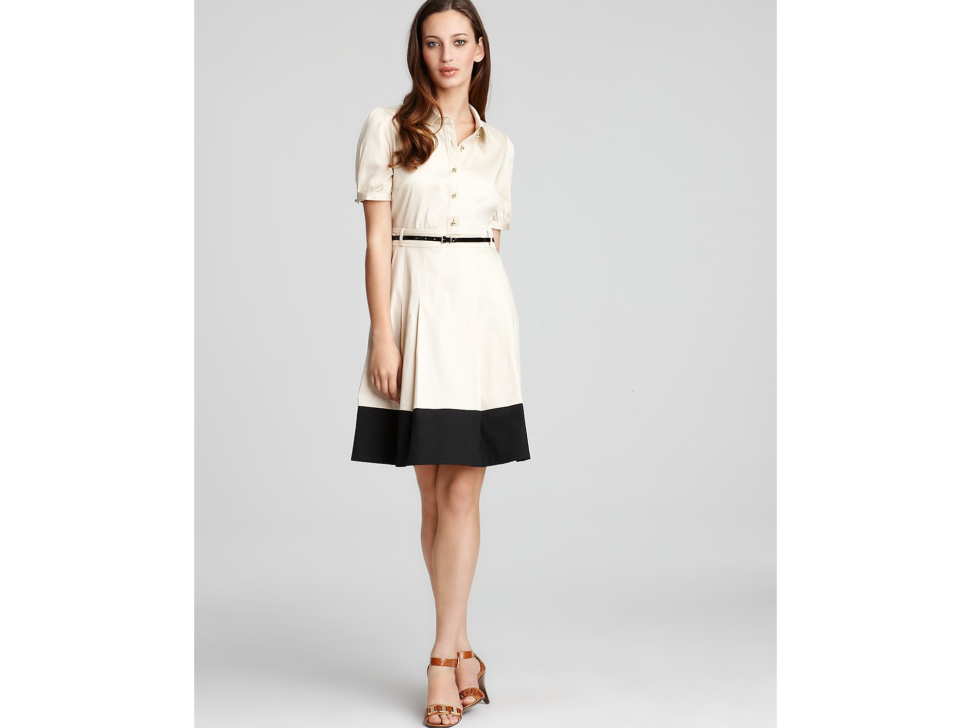 580afcd635b Kate Spade Jeanette Belted Shirt Dress in Natural - Lyst