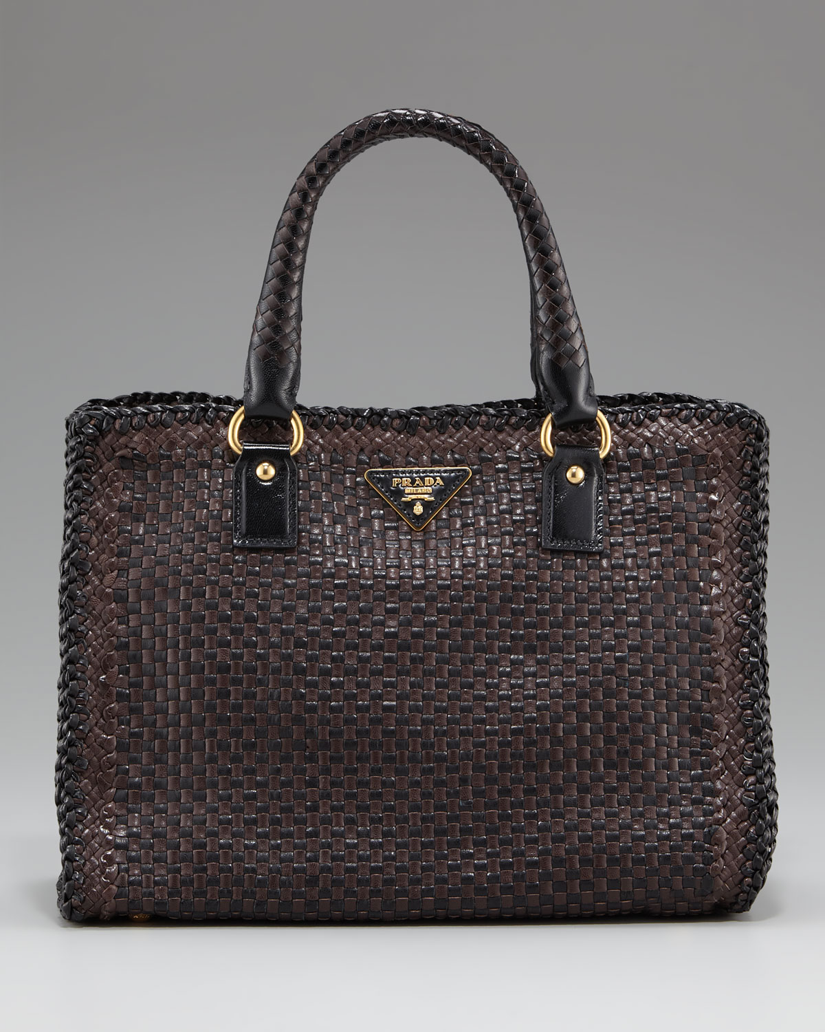 Prada Madras Woven Double-handle Tote in Brown | Lyst
