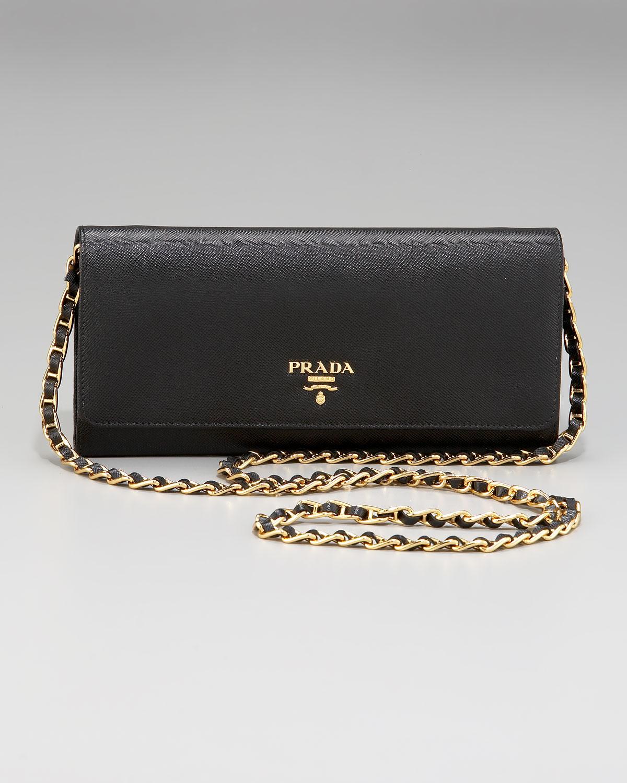 c65e84f797 ... shop prada saffiano chain crossbody wallet in black lyst ab0f4 e4cb6