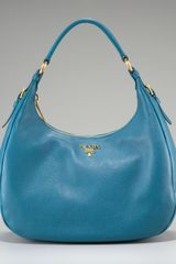 Prada Vitello Daino Pebbled Calfskin Hobo - Lyst