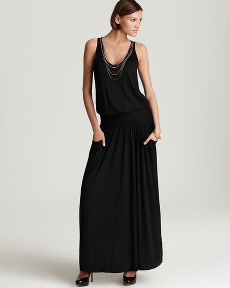 Three Dots Viscose Maxi Dress with Removable Necklace in ...