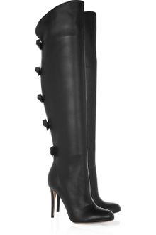 Valentino Bow-embellished Knee-high Leather Boots - Lyst