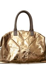 Saint Laurent Metallic Easy Medium Top Handle in Gold - Lyst