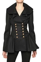 Alexander McQueen Double Breasted Heavy Felt Wool Coat - Lyst