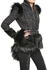 Alexander Mcqueen Fox Fur Trim Hand Woven Tweed Jacket in Black - Lyst