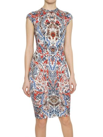 Alexander McQueen Porcelain Print Jacquard Wool Knit Dress - Lyst